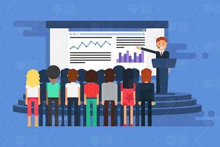 PräsentationsVorlage mit Referenten und Publikum