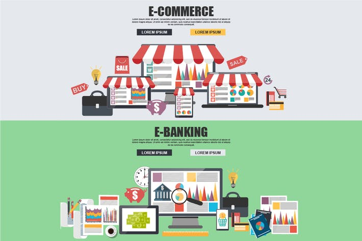Thumbnail for Flat Concept E-Commerce, E-Banking
