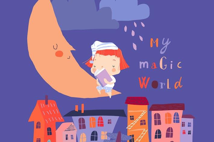 Nettes kleines Mädchen, das auf dem Mond sitzt und liest