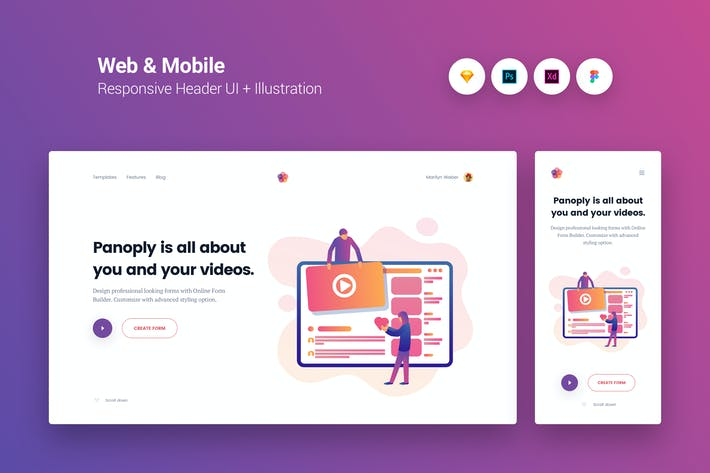 Thumbnail for Web & Mobile Responsive Cover UI + Illustration 11