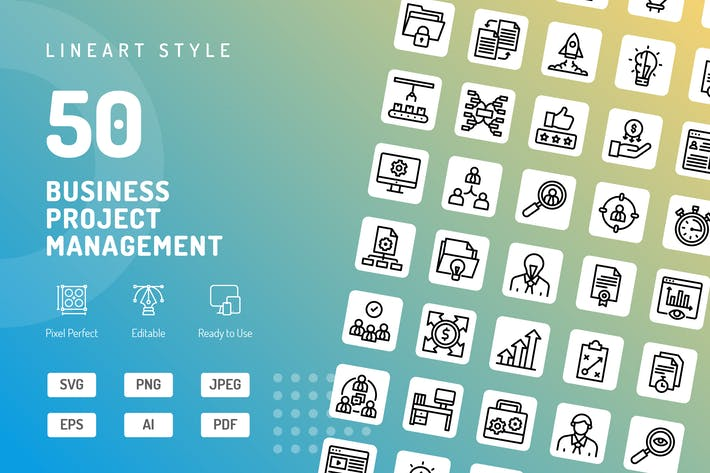 Thumbnail for Business Project Management Line Icons