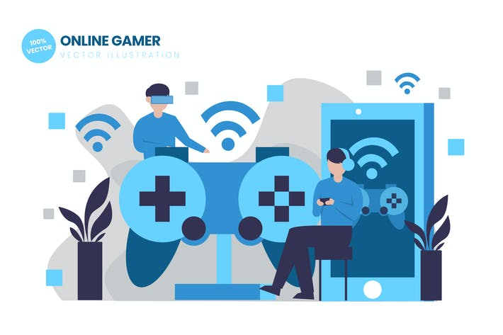 Thumbnail for Online Gamer Flat Vector Illustration