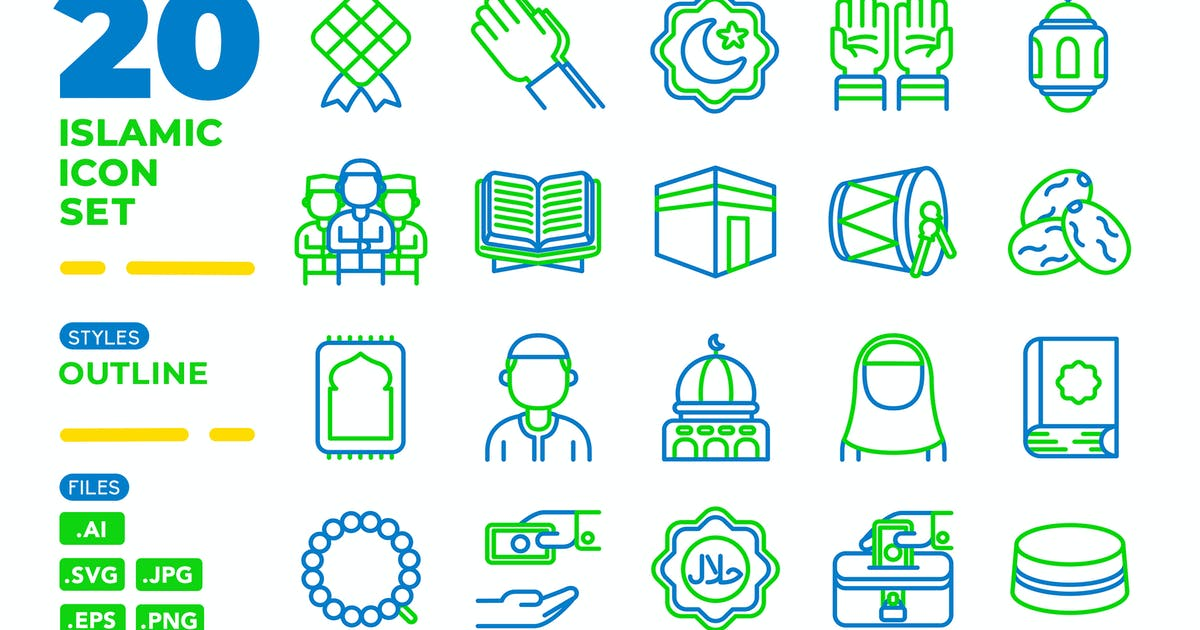Download Islamic Icon Set (Outline) by medzcreative