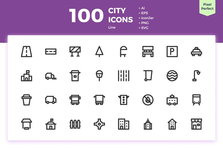 Thumbnail for 100 City Icons (Line)