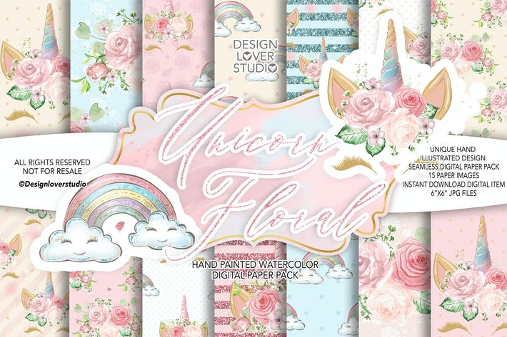 Cover Image For Unicorn Faces Floral digital paper pack