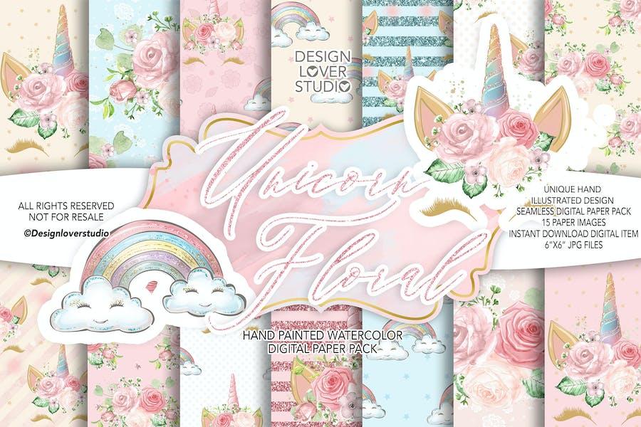 Unicorn Faces Floral digital paper pack