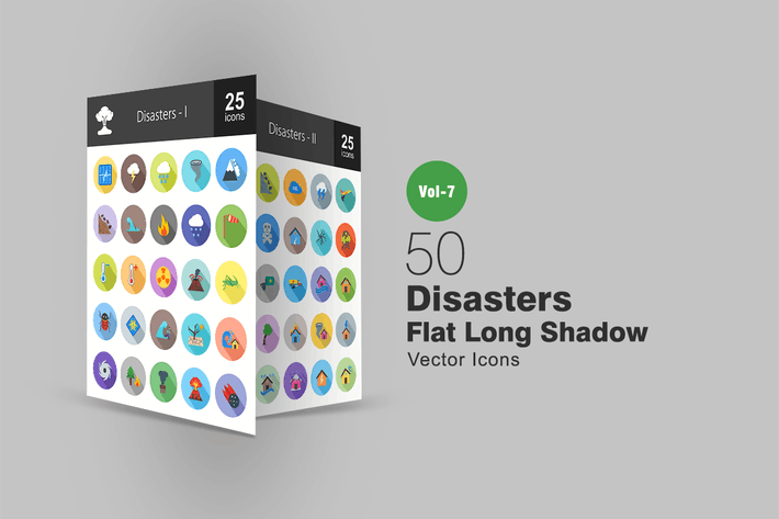 Thumbnail for 50 Disasters Flat Shadowed Icons