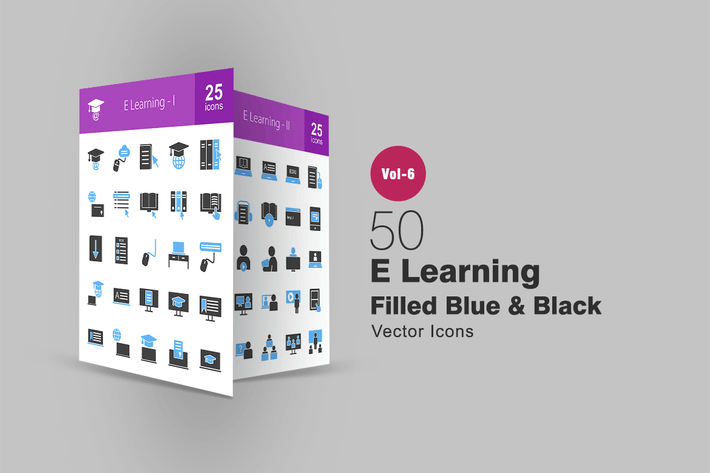 Thumbnail for 50 E Learning Blue & Black Icons