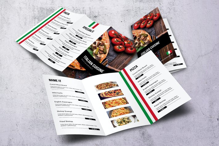 Thumbnail for Italian Cuisine Elegant Trifold Menu
