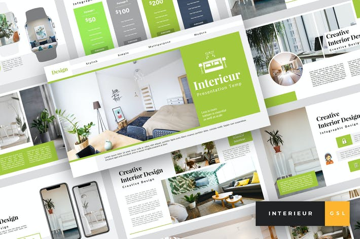 Thumbnail for Interieur - Interior Design Google Slides Template