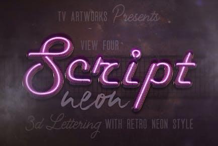 Script Neon 3D Lettering View 4 + Graphics