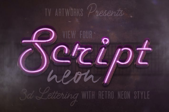 Thumbnail for Script Neon 3D Lettering View 4 + Graphics