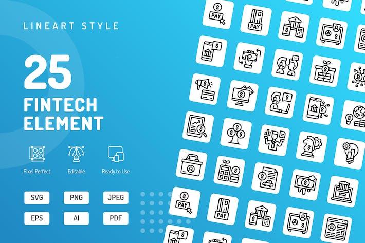 Иконки линии элемента Fintech