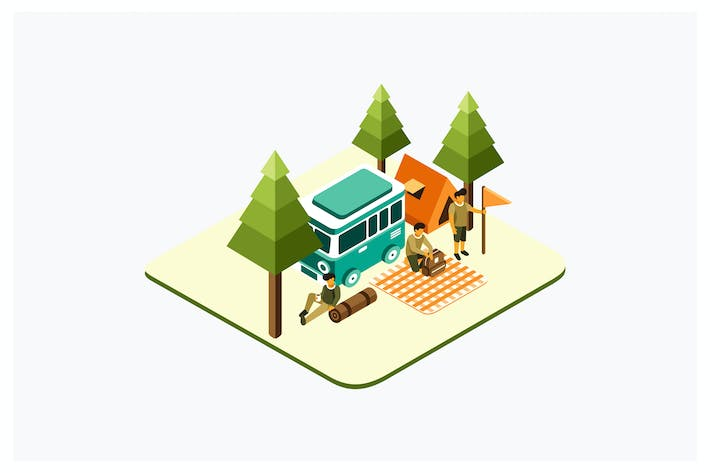 Thumbnail for Isometric Picnic and Camping Vector Illustration