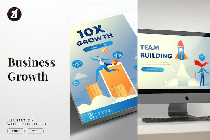 Business growth illustration with text layout