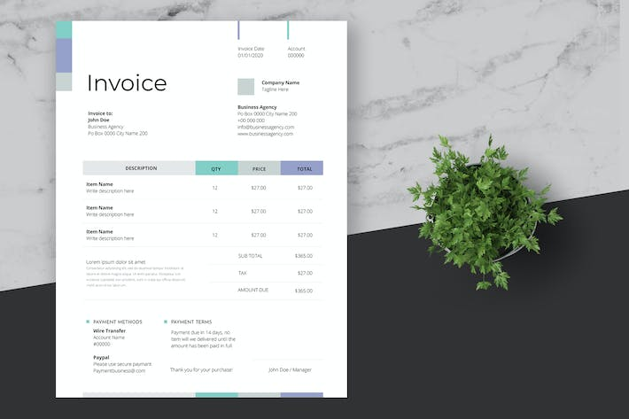 Thumbnail for Minimal and Clean Business Invoice Template