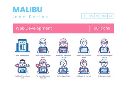 90 Icons für Webentwicklung - Malibu Series