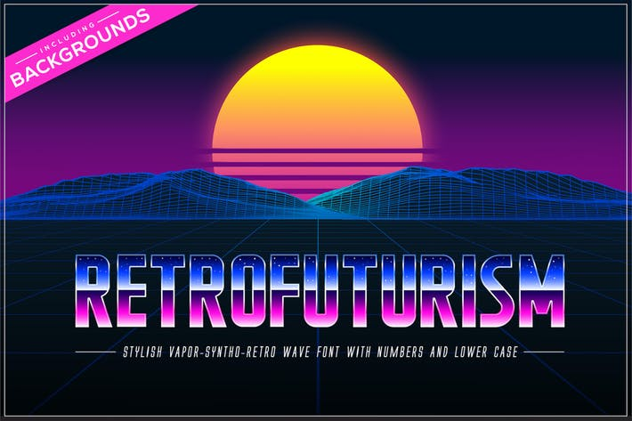 Thumbnail for Retrofuturism OTF Vaporwave Font + Backgrounds