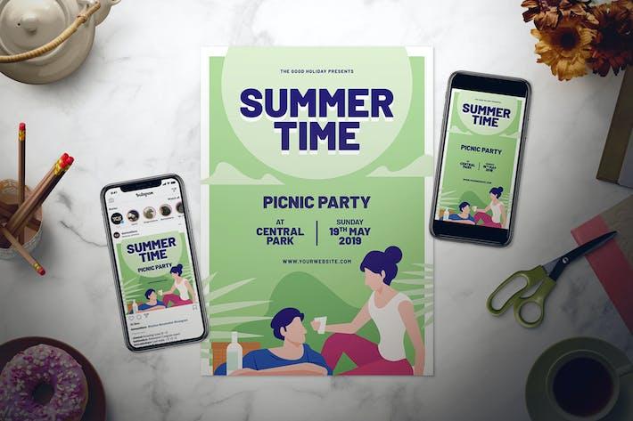 Cover Image For Summer Picnic Flyer Set