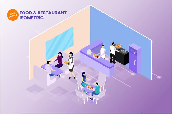Thumbnail for Isometric Food & Restaurant Vector Illustration