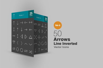 50 Arrows Line Inverted Icons