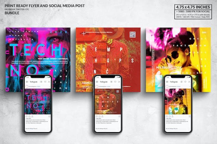 Thumbnail for Music Square Flyer & Social Meadia Post Set