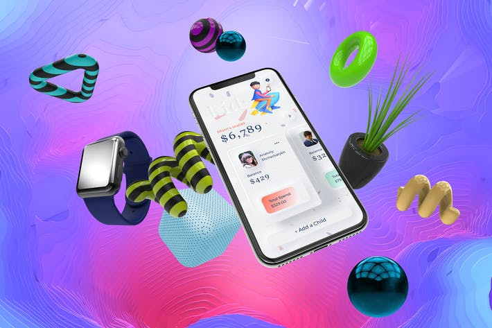 Kids Finance Mobile Neumorphism Soft UI