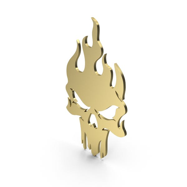 Burning Skull Figure Gold