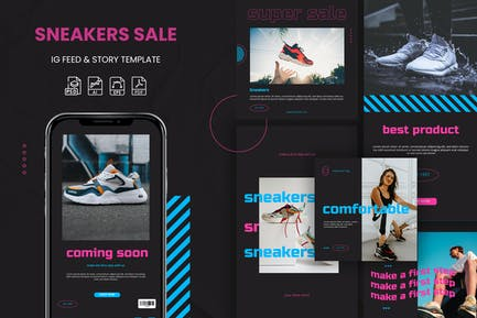 Super Sale Sneakers - Instagram Feeds & Story Pack