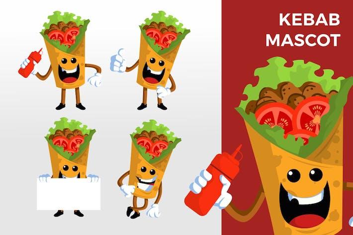 Kebab-Maskottchen-Zeichensatz