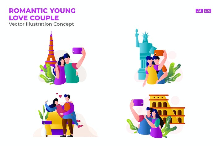 Thumbnail for Romantic Young Love Couple Vector Illustration