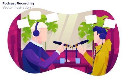 Podcast Recording - Vector Illustration