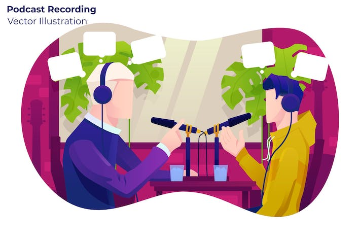 Thumbnail for Podcast Recording - Vector Illustration