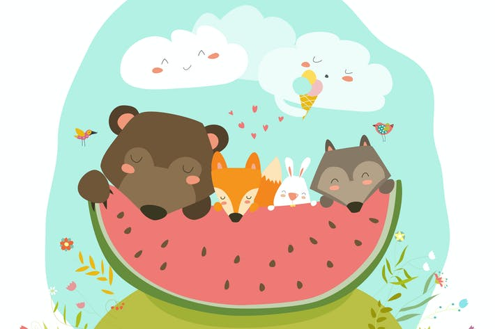 Cover Image For Cute animals eating watermelon slice. Hello summer