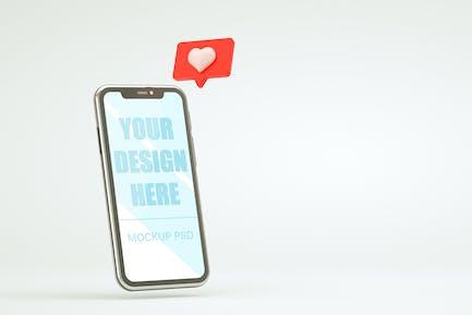 Like notification icon on smartphone mock up