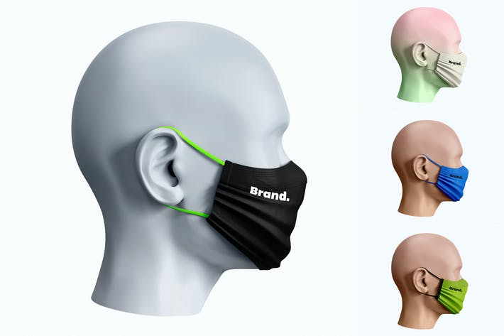 Thumbnail for Face Mask Mockup Side View