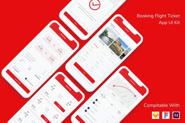 Thumbnail for Booking Flight Ticket App UI Kit