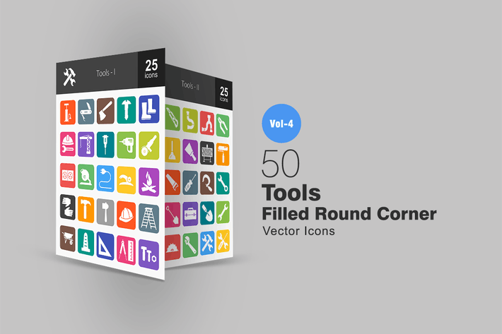 Thumbnail for 50 Tools Flat Round Corner Icons