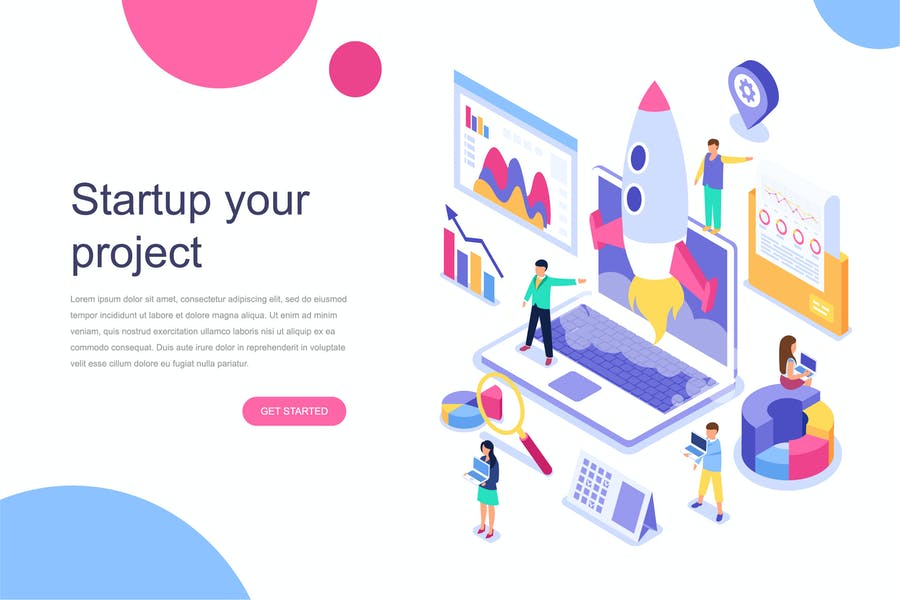 Startup Your Project Isometric Concept