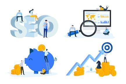 Conceptos de Diseño Plano de SEO y Finanzas