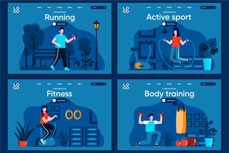 Modèle de page d'accueil du concept Plat Sport actif