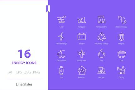 Energie-Icon Set Linie Stile