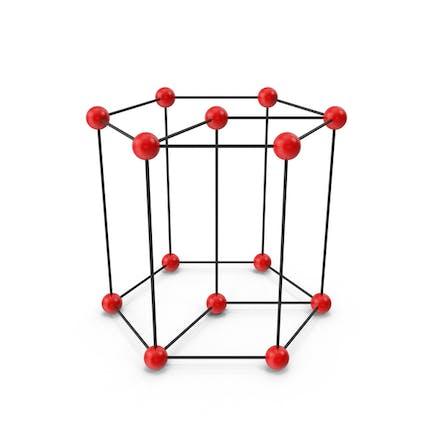 Sechseckige Kristallgitterstruktur