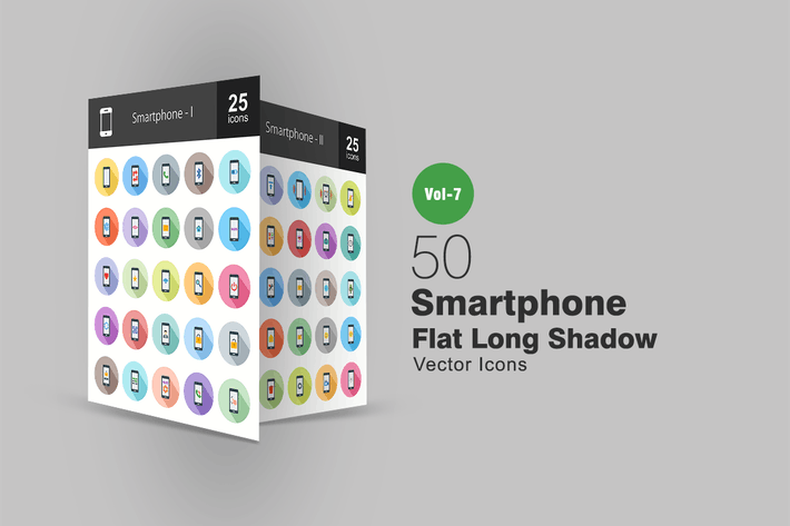 Thumbnail for 50 Smartphone Flat Shadowed Icons