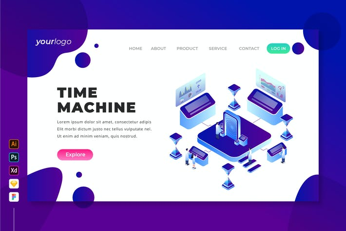 Thumbnail for Time Machine - Isometric Landing Page