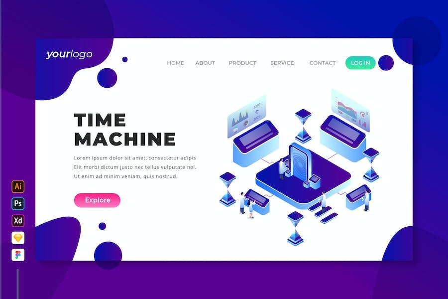 Time Machine - Isometric Landing Page