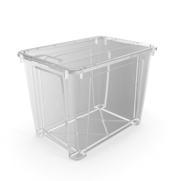 Большой прозрачный пластиковый контейнер с крышкой