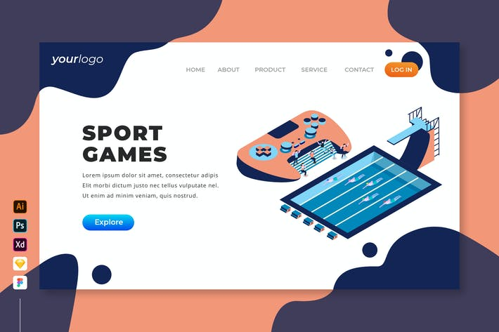 Thumbnail for Sport Games - Isometric Landing Page