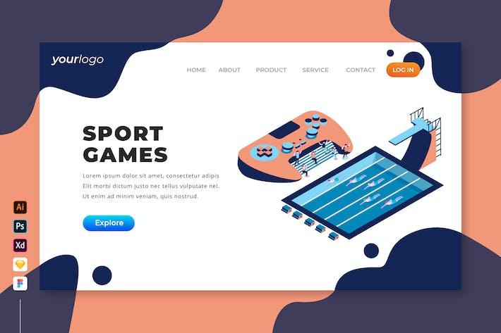 Thumbnail for Jeux de sport - Page d'atterrissage isométrique