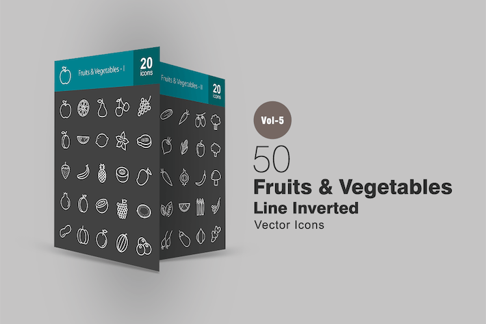 Thumbnail for 50 Fruits & Vegetables Line Inverted Icons